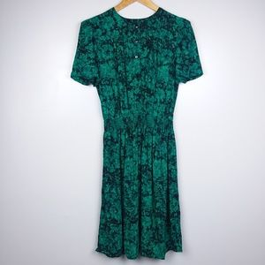 Vintage Willow Ridge Vibrant Green Floral Dress